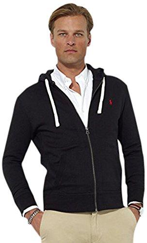 RALPH LAUREN Polo Classic Full-Zip Fleece Hooded Sweatshirt, Black/Red/Red Pony, Medium