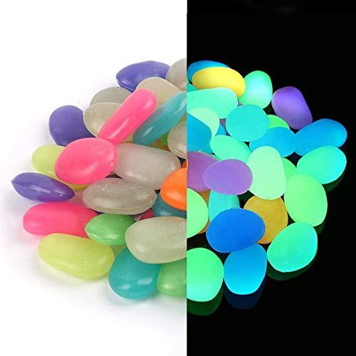 Piedras Luminosas de Colores, 150pcs Piedras Guijarros Brillan Piedra Fluorescentes Piedras Luminosas para Jardín, Decoración al Aire Libre, Acuario, Pecera