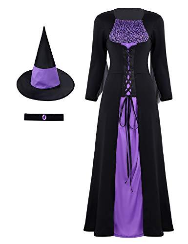 Freebily Costume Strega Donna 3 Pezzi Vestito Lungo Capelli e Choker Travestimenti Donna Fata Costume Carnevale Donna Dama Medievale Halloween Cosplay Nero&Viola Medium