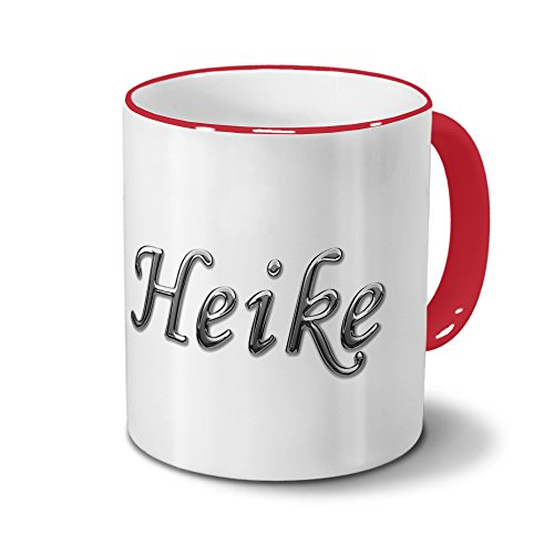 Tasse mit Namen Heike - Motiv Chrom-Schriftzug - Namenstasse, Kaffeebecher, Mug, Becher, Kaffeetasse - Farbe Rot