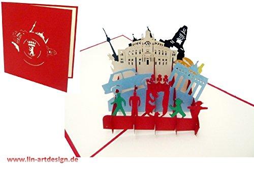 LIN17219, 3D POP UP Karte Berlin, Reisegutschein Berlin, Grußkarte Klappkarte Berlin, DDR Ostdeutschland, N191