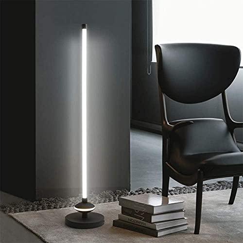Lámpara de pie de esquina LED minimalista moderna negra Lámpara de pie Iluminación suave Minimalismo para el hogar Luz cálida para sala de estar Dormitorio Habitación para niños con interruptor