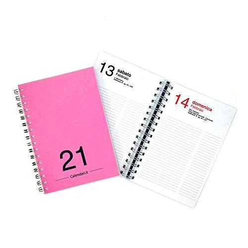 Agenda 2021 giornaliera annuale 365 giorni 15x21 cm A5 con spirale per ufficio - FUXIA Calendari