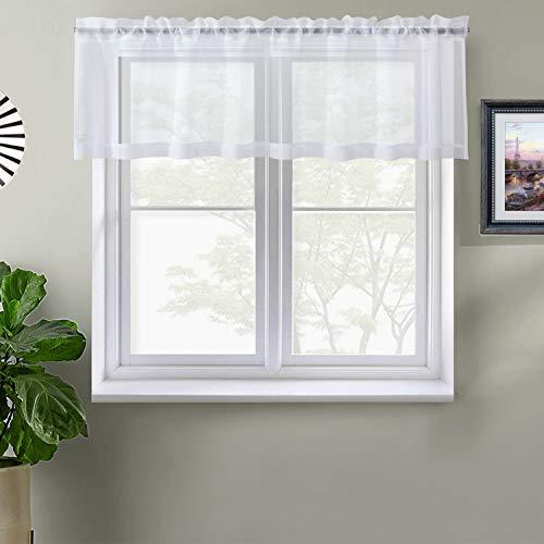 White SheerCurtains Valance Sheer Curtains Half WindowCurtain for Kitchen Café Window Curtains Rod Pocket (W60 x L16, 1 Panel)
