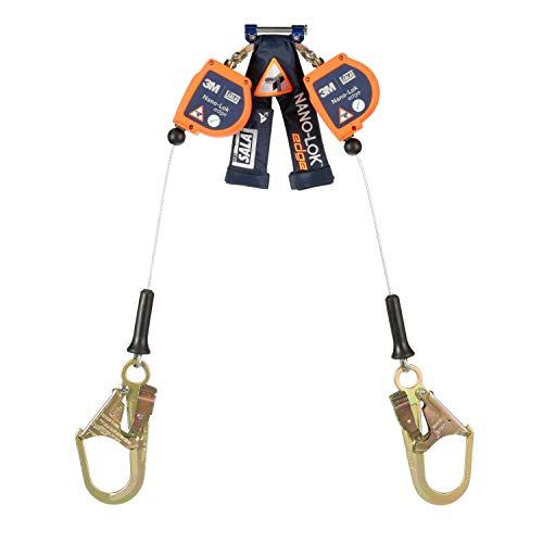 3M DBI-SALA Nano-Lok Edge, 3500246 SRL, 8', Double-Leg 100% Tie-Off,, Leading/Sharp Edge, Galv Cable Steel Rebar Hooks,Quick Connector For Harness Mount