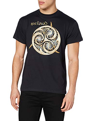 Carrolls Irish Gifts Navy Round Neck T-Shirt With Celtic Spiral Design With Ireland Text, XX-Large