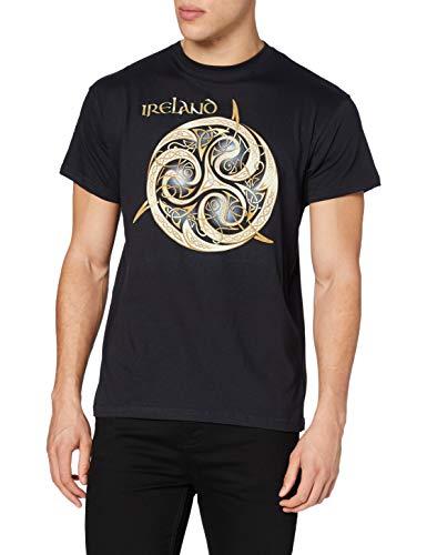 Traditional Craft Carrolls Irish Gifts Navy Round Neck T-Shirt With Celtic Spiral Design With Ireland Text, Medium