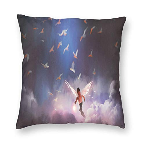 Decorative Cushion Covers with Artistic Image of Little Boy with Wings Running Over Clouds with Flying Birds,for Sofa Office Decor Cotton and Linen Cushion Covers 22*22Inch