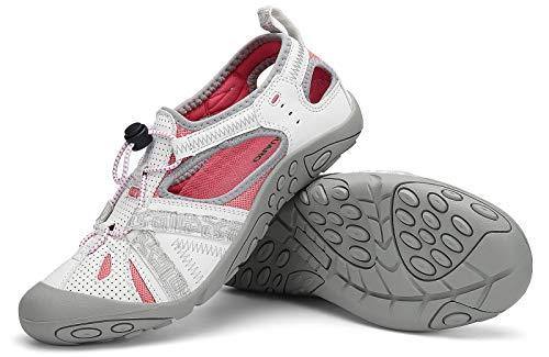 SAGUARO Sandales pour Femme Sandales de sport d'été Chaussures de Plage avec Semelle Durable Plage Chaussures d'eau Blanc 38 EU