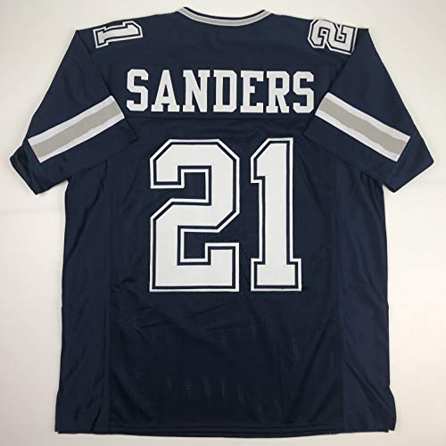 Unsigned Deion Sanders Dark Blue Custom Stitched Football Jersey Size Men's XL New No Brands/Logos