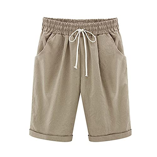 N\P Women's lace-up Shorts Pocket high Waist Solid Color Casual wear Summer Women's Plus Size Khaki
