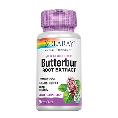 Solaray Butterbur Root Extract 50mg | Support for Healthy Vascular Smooth Muscle, Blood Flow, Respiratory Function & Urinary System Health | 60ct