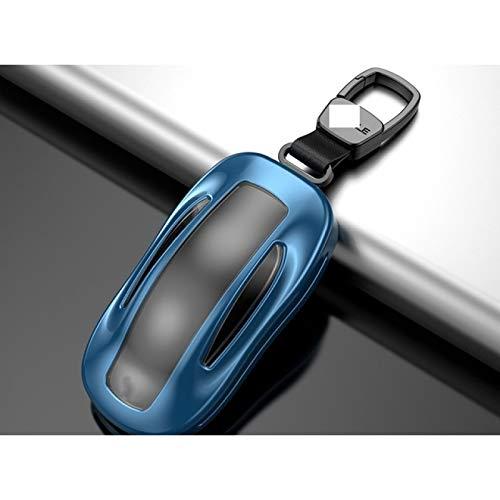 Ztuaalui 1 Uds Fundapara Llave de Coche con cinturón aleación de Aluminio +Protector de Bolsa de Almacenamiento de Carcasa de Llave deTPU, para Tesla Model S Model 3 Model X