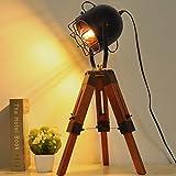 Decoluce Searchlight Tripod Wood Floor Table Lamp Vintage Industrial Standing Light Fixture Nautical Desk Decoration -Without Edison Led Bulbs