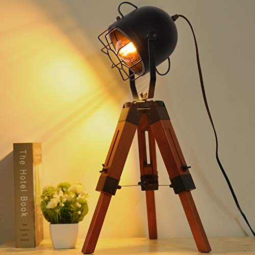Decoluce Searchlight Tripod Wood Floor Table Lamp Vintage Industrial Standing Light Fixture Nautical Desk Decoration -Without Edison Led Bulbs