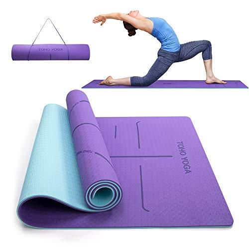 Yogamatte, Umweltfreundliche TPE Gymnastikmatte 6mm Extra Dicke, Wasserdicht Rutschfeste Yogamatten Sportmatte mit Ausrichtungslinien, Leichte Jogamatte für Zuhause Yoga Pilates Gymnastik Workout