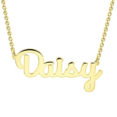 Soufeel Personalisierte Damen Namenskette Halskette mit Wunschname 925 Sterling Silber in 14K Gold