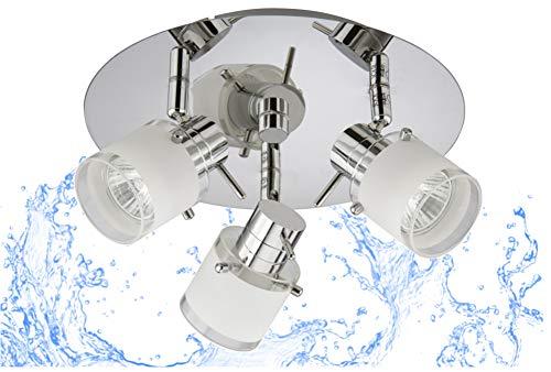 Trango 1006-38R 3-flammig IP44 LED Badleuchte *RONNY* Bad Deckenleuchte mit Glaslampenschirm in Chrom-Optik Rondell, Deckenstrahler inkl. 3x 3 Watt GU10 LED Leuchtmittel, Spots schwenkbar & drehbar
