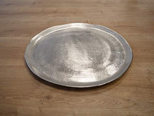 CB Home & Style Dekoschale rund Aluminium Silber Dekoteller massiv Metall Deko (40 cm Durchmesser)