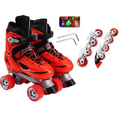 Dubbele rij Inline Skates Verstelbare Quad Roller Rollerblades Beginners 7-12 Jaar Oude Kids Jongens Meisjes