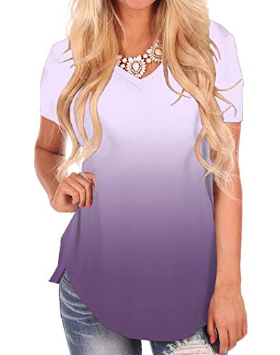 Women's Color Gradient Tops Fashion Summer Tees Soft Basic Shirts for Girls Purple
