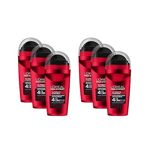 L'Oréal Men Expert Ultimate Control Deo Roll-On, 6er Vorratspack, schützt 48H gegen Stress-Schweiß, holzig-frischer Duft, ohne Alkohol (6 x 50 ml)