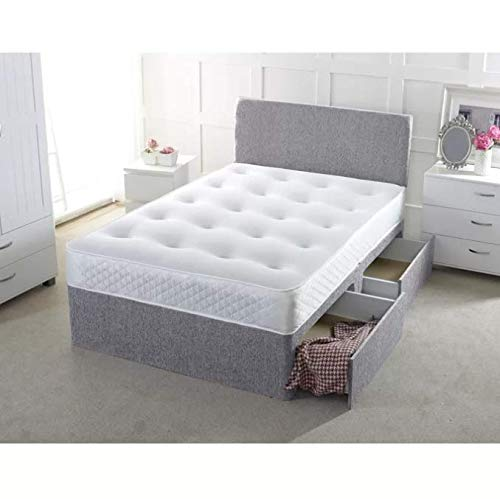 17 Stories Chenille Orthopaedic Pocket-sprung Divan Bed (Silver, Super King (6'), 2 Drawers Same Side)
