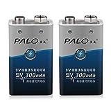 Ba30DEllylelly 2Pcs / Set 6F22 006p 9V NI-MH 300mah Baterías Recargables para Juguetes de Alarma, etc.