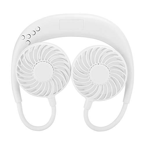 USB-ventilatoren, mini USB draagbare elektrische nekventilator met Bluetooth-audioradio Multifunctionele oplaadbare ventilator voor buiten, paardrijden, klimmen, tunning, reizen.(Wit)