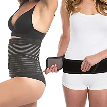Upspring Shrinkx Belly and Hips Postpartum Support Bundle | Post Pregnancy Belly Wrap to Support Slim and Smooth | Postpartum Hip Wrap To Guide Hips  Black- Small/Medium