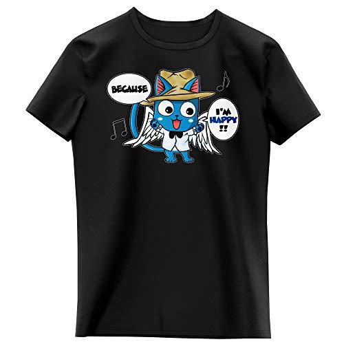 Okiwoki T-Shirt Enfant Fille Noir Parodie Fairy Tail - Happy - Happy Williams : (T-Shirt Enfant de qualité Premium de Taille 9-10 Ans - imprimé en France)
