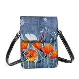 Verano noche sombra de un prado de amapolas flores Crossbody teléfono celular caso bolso, bolso de cuero ranuras para tarjetas cartera teléfono bolsillo Baggap embrague