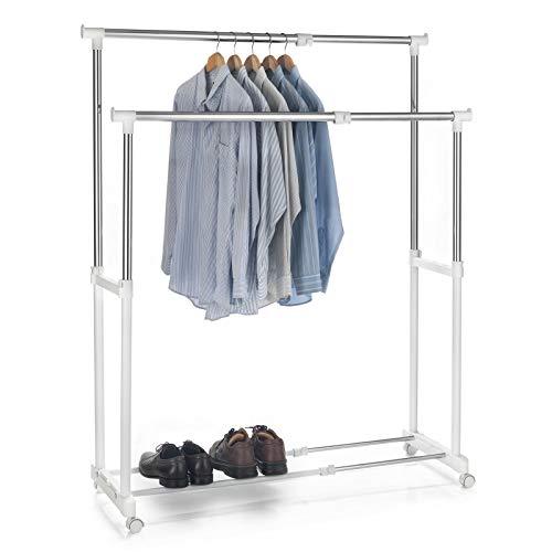 Garderobenwagen Rollgarderobe Kleiderständer Garderobenständer Rollkleiderständer CASA in weiß, 2 Kleiderstangen, Metallgestell verchromt, höhen- und breitenverstellbar