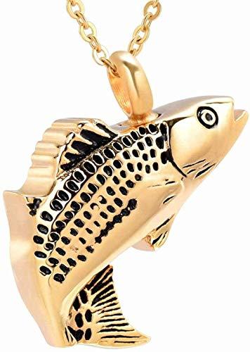 Collares Para Hombre Collar Con Colgante Conmemorativo, Colgante De Recuerdo De Crema De Pescado De Acero Inoxidable, Joyería De Cenizas Funerarias Divertidas Para Mascotas, Medallón Dorado Para Masc