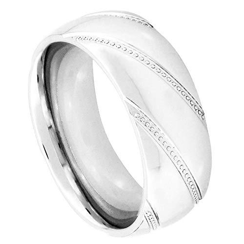 Free Engraving 8mm Cobalt Chrome Wedding Band Ring High Polish Diagonal Cut Milgrain Design 9mm (8.5)