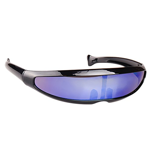 Haihuic Gafas de Sol cíclopes futuristas Cyberpunk Lente Espejada Gafas de Sol de Visera