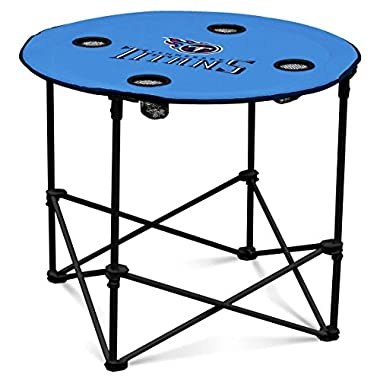 Logo Brands Tennessee Titans Collapsible Round Table with 4 Cup Holders and Carry Bag