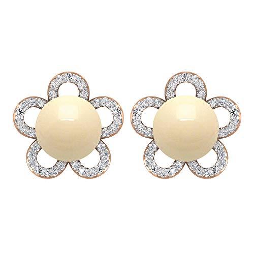 Pendientes de perlas cultivadas japonesas de 5,35 quilates, pendientes de flor de diamante, pendientes de tuerca de orotornillo hacia atrás