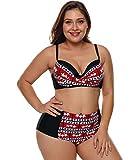 Taigood Bademode Damen Push up Bikini Sets Bunt Drucken Strandmode Badeanzüge Zweiteiliger Swimsuit Große Größen
