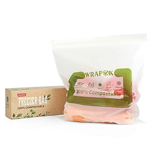 WRAPOK 100% kompostierbare Gefrierbeutel, groß, biologisch abbaubar, für Gemüse, Obst oder Fleisch, 50 Stück