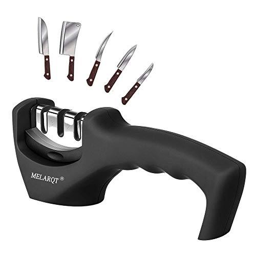 MELARQT - Afilador de cuchillos manual de 3 niveles, afilador de cuchillos, profesional, eficaz para acero inoxidable y cuchillos de cerámica