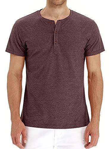 Shirt Sin Cuello Hombre Básica con Botones Tapeta Hombre Verano Transpirable Manga Corta Hombre T-Shirt Cómoda Y Moderna Hombre Shirt Ocio E-Dark Brown XL