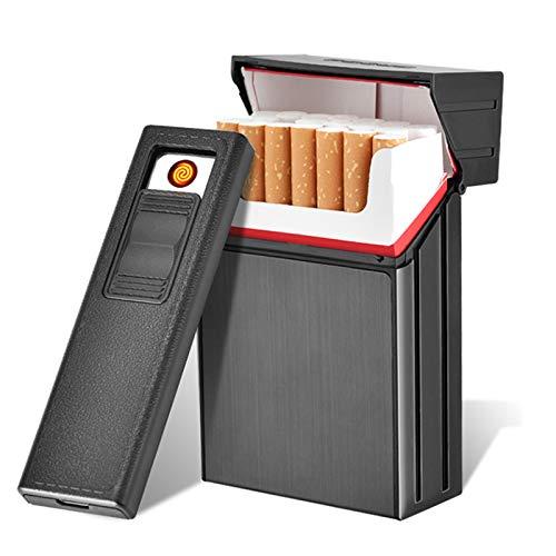 タバコケース電子ライター ライター付シガレットケースUSB 分離式充電式丸ごとタバコ用 20本入り,黒