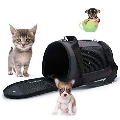 Klikken Zachte zijdige Huisdier Opvouwbare Hond Kat Carrier puppy Cage Inklapbare Reistas voor Kleine & Middelgrote Huisdieren Bunny/Kitten/Egel/Hamster/Chihuahua, S, Paars