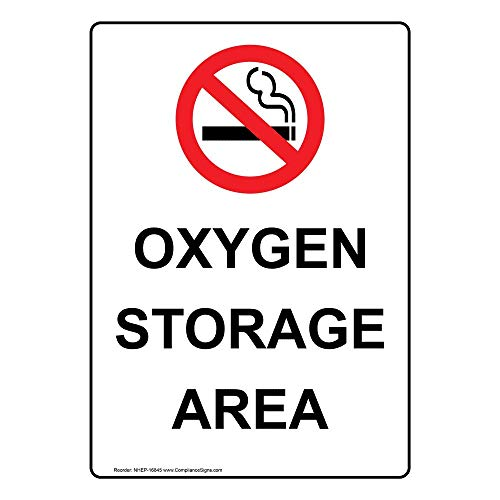 Vertical Oxygen Storage Area Sign, 10x7 in. Plastic for Gases Hazmat by ComplianceSigns
