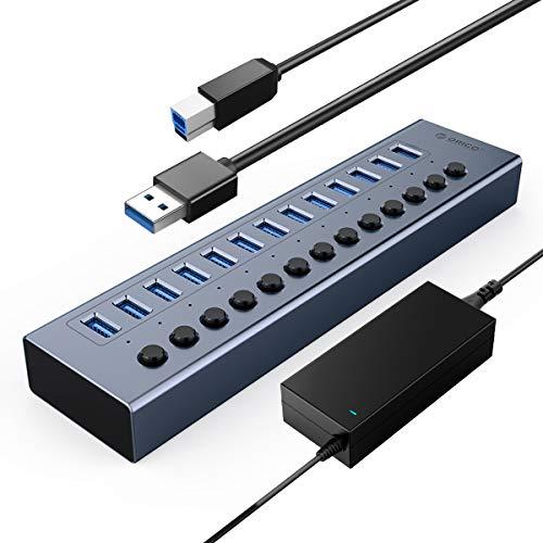 ORICO Industrial USB 3.0 Data Hub Aluminium 13 Ports 48W USB Hub BC1.2-Protokoll Mit Netzteil Einzelne EIN/Aus-Schalter und 12V/5A Netzteil für PC, iMac, Mobile Festplatte, Flash Laufwerk