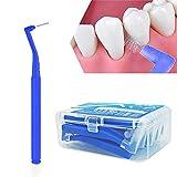 Xiton 1 Caja Cepillo Interdental Cepillo De Limpieza En áNgulo Para El Cuidado Dental OrtodóNtico De Ortodoncia De Angle Angular Para Boca Y Higiene Dental EncíAs Saludables Hilo Dental (0.6mm, azul)