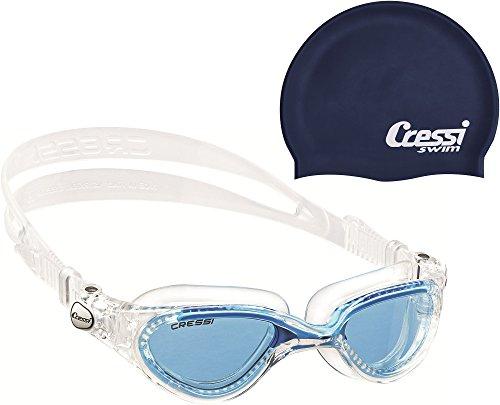 Cressi Flash Premium Schwimmbrille Antibeschlag und 100% UV Schutz +  Badekappe Silicone Cap Dunkelblau