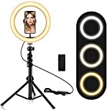 10.2' Ring Light with Stand and Phone Holder, Adjustable(16.56'' to 53.5'') Selfie Ring Light, 3 Lighting Modes and 11 Brightness Levels, Ring Light for YouTube Video/Live Stream/Makeup/Photography