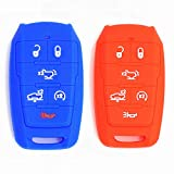 WFMJ 2Pcs Red Blue Silicone for Dodge 2021 2020 2019 Ram 1500 Remote 6 Buttons Key Cover Chain Case Fob